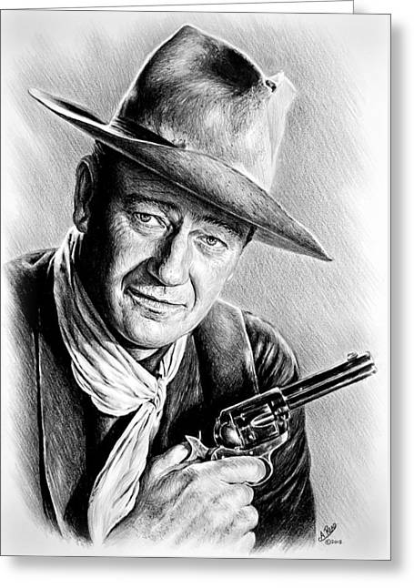 Cowboy Sketches Greeting Cards - John Wayne  Greeting Card by Andrew Read