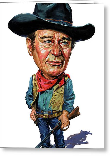 Humor Greeting Cards - John Wayne Greeting Card by Art