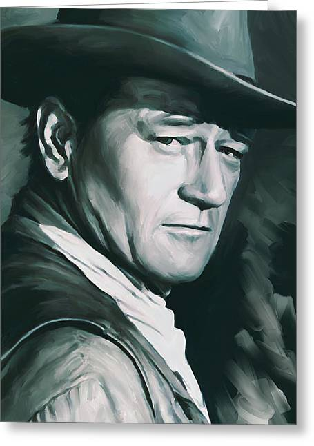 Celebrity Prints Greeting Cards - John Wayne Artwork Greeting Card by Sheraz A