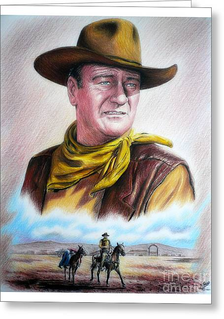 Tough Guy Greeting Cards - John Wayne Captured Greeting Card by Andrew Read