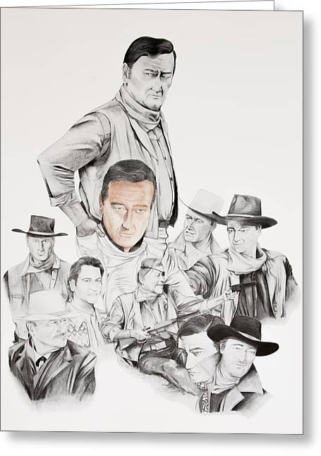 Rooster Cogburn Greeting Cards - John Wayne commemoration 1930 to 1976 Greeting Card by Joe Lisowski