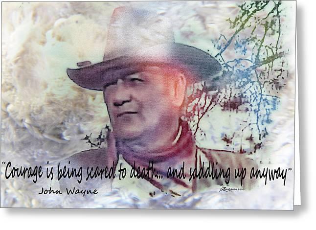 Height Mixed Media Greeting Cards - John Wayne Greeting Card by EricaMaxine  Price