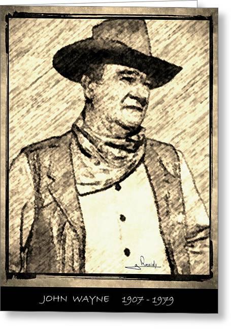 John Wayne Drawings Greeting Cards - John Wayne Greeting Card by George Rossidis