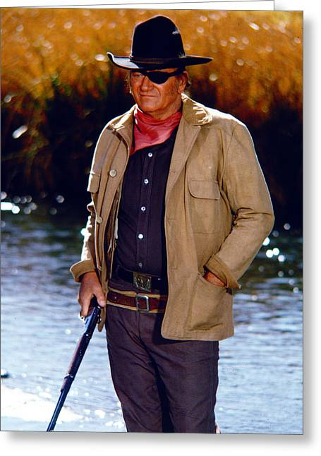 Roosters Greeting Cards - John Wayne in Rooster Cogburn  Greeting Card by Silver Screen