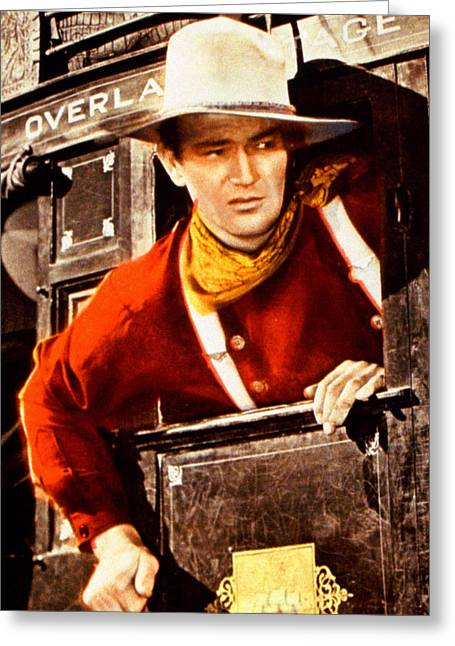 Stagecoach Greeting Cards - John Wayne in Stagecoach  Greeting Card by Silver Screen