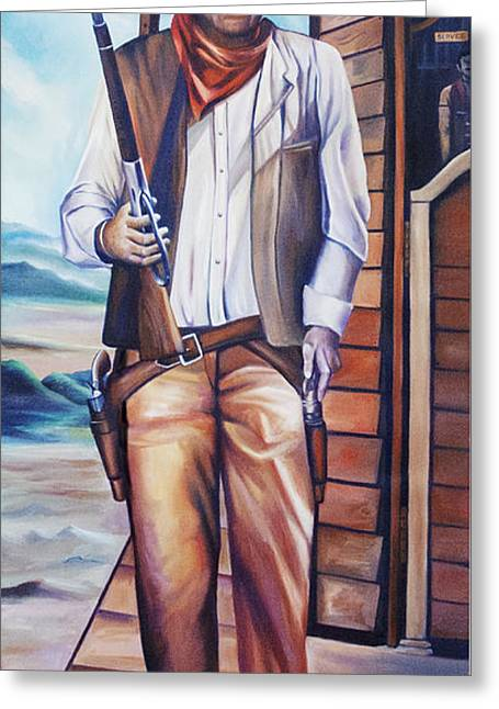 Copyrighted Greeting Cards - John Wayne Greeting Card by James Christopher Hill