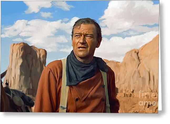 Portrait Artwork Greeting Cards - John Wayne Greeting Card by Paul Tagliamonte