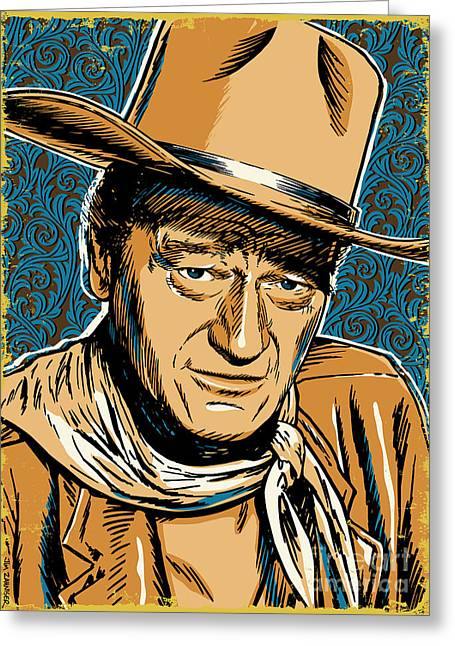 Hollywood Legend Greeting Cards - John Wayne Pop Art Greeting Card by Jim Zahniser