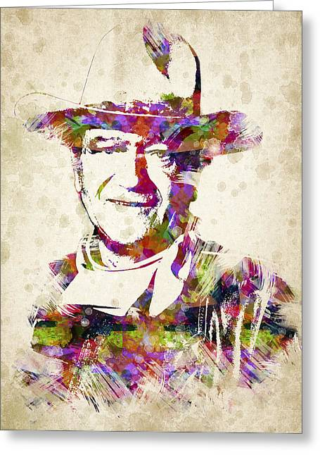 The Duke Greeting Cards - John Wayne Portrait Greeting Card by Aged Pixel