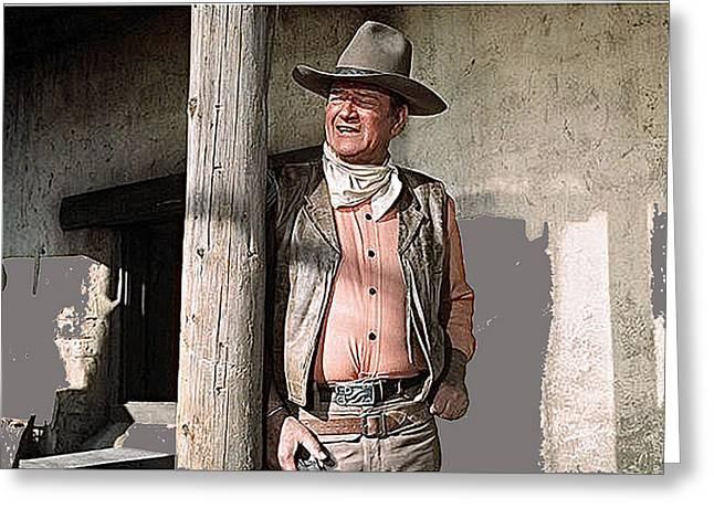 Howard Hawks Greeting Cards - John Wayne publicity photo Rio Lobo 1970 Old Tucson Arizona  Greeting Card by David Lee Guss