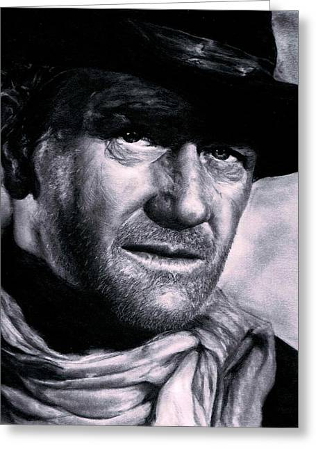 Cowboy Pencil Drawings Greeting Cards - John Wayne Greeting Card by Ryan Jacobson