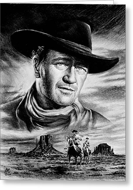 1950s Portraits Greeting Cards - John Wayne Searching Greeting Card by Andrew Read