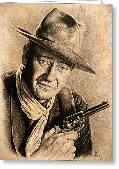 1950s Portraits Greeting Cards - John Wayne sepia scratch Greeting Card by Andrew Read