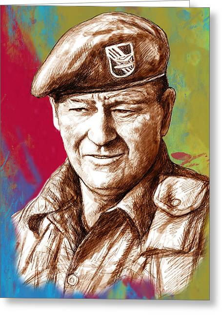 Award Drawings Greeting Cards - John Wayne stylised pop art drawing potrait poser Greeting Card by Kim Wang