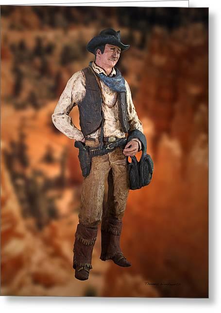 Award Digital Art Greeting Cards - John Wayne the Cowboy Greeting Card by Thomas Woolworth