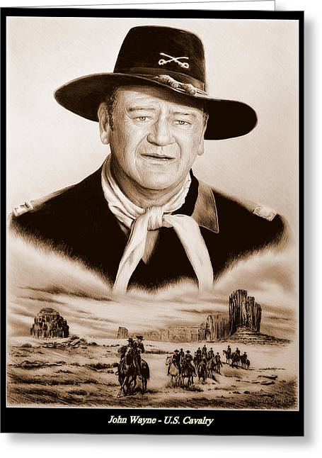 Andrew Michael Greeting Cards - John Wayne US Cavalry Greeting Card by Andrew Read
