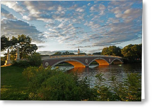 Boston Ma Greeting Cards - John Weeks bridge in Harvard Square Cambridge Greeting Card by Toby McGuire