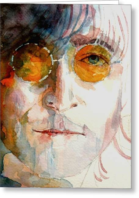 The Beatles Images Greeting Cards - John Winston Lennon Greeting Card by Paul Lovering