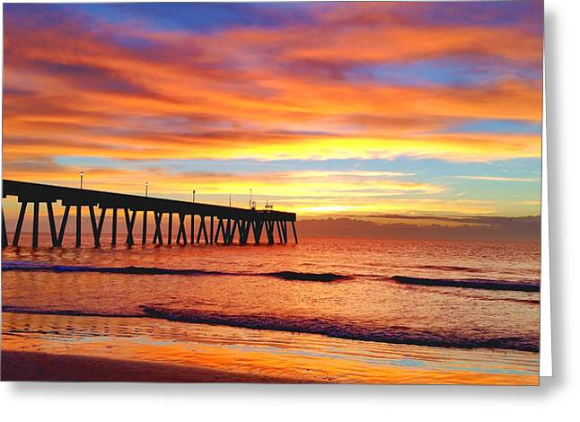 Saltlife Greeting Cards - Johnnie Mercer Pier Sunrise Greeting Card by Karen Rhodes