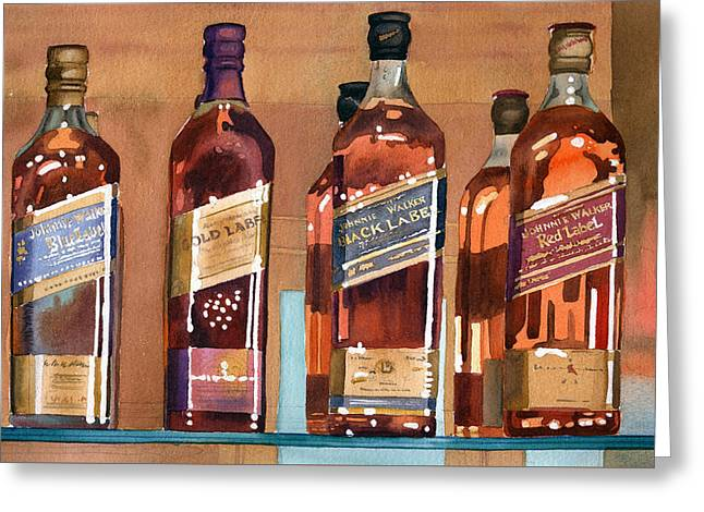 Drinks Greeting Cards - Johnnie Walker Greeting Card by Mary Helmreich