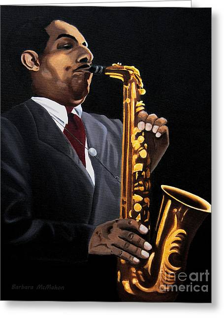 Barbara Mcmahon Greeting Cards - Johnny and the Sax Greeting Card by Barbara McMahon