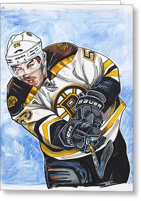 Nhl Hockey Drawings Greeting Cards - Johnny Boychuk Greeting Card by Dave Olsen