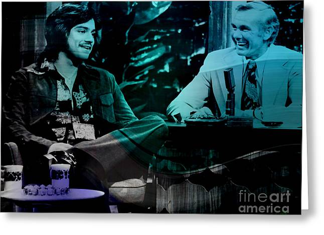 Johnny Carson And Freddie Prince Jr Greeting Card by Marvin Blaine
