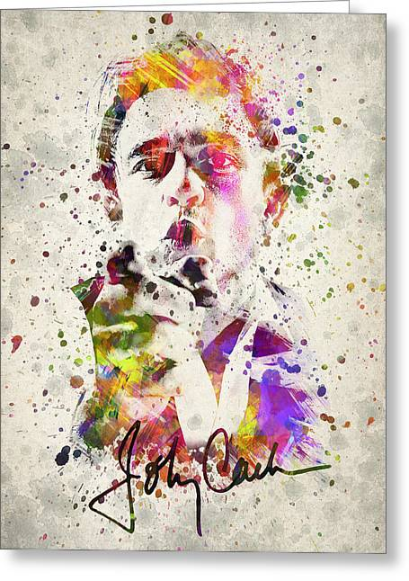 Celeb Greeting Cards - Johnny Cash  Greeting Card by Aged Pixel