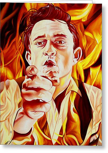 Morton Greeting Cards - Johnny Cash And it burns Greeting Card by Joshua Morton