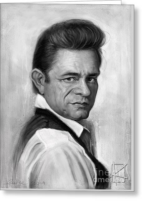 Wacom Greeting Cards - Johnny Cash Greeting Card by Andre Koekemoer