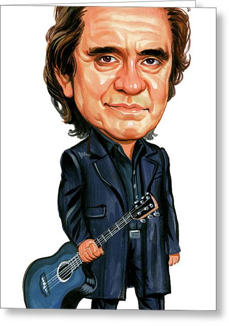 Art Glass Greeting Cards - Johnny Cash Greeting Card by Art