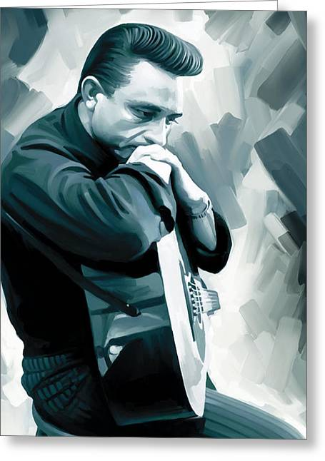 Johnny Cash Artwork 3 Greeting Card by Sheraz A