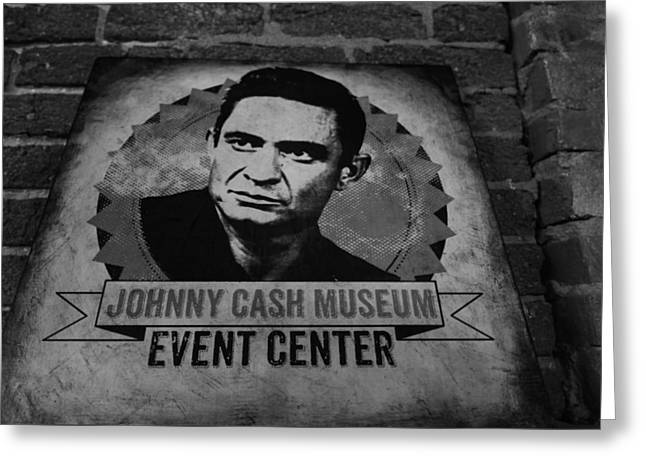 Johnny Cash Black And White Greeting Card by Dan Sproul