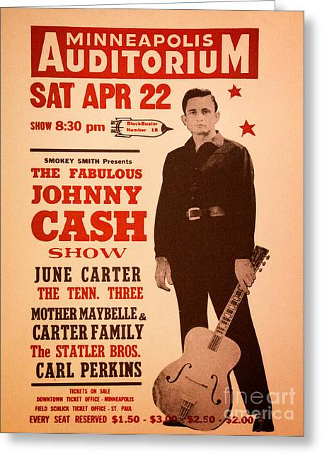 Nashville Tennessee Greeting Cards - Johnny Cash Greeting Card by Bob Hislop
