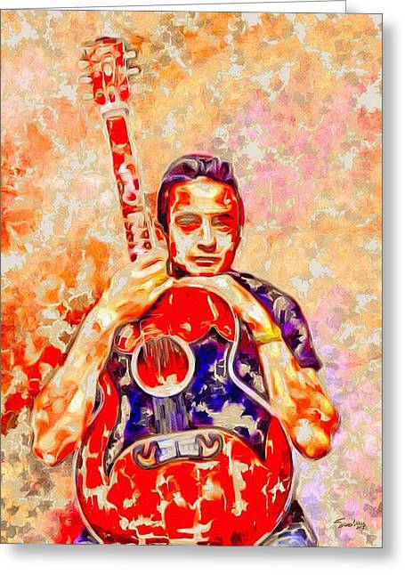 Most Influential Musician Greeting Cards - Johnny Cash Color Splash Portrait   Greeting Card by Digital Designs