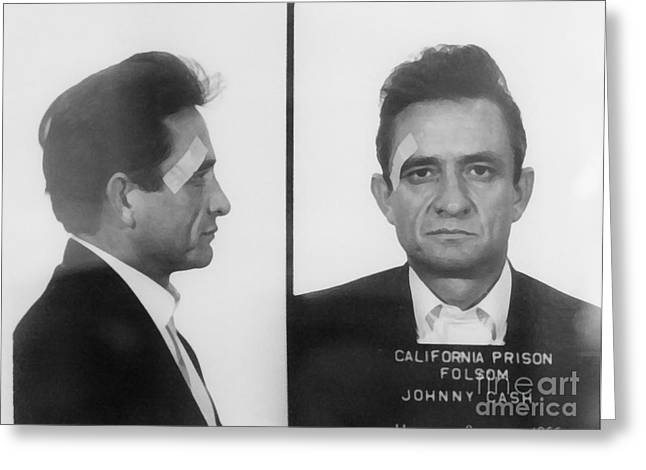 Country Framed Prints Greeting Cards - Johnny Cash Folsom Prison Greeting Card by David Millenheft
