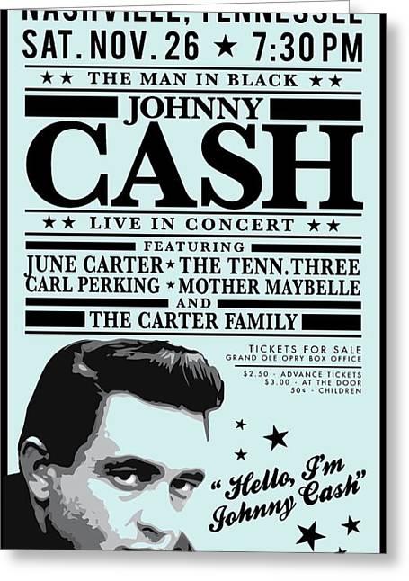 Antique Digital Art Greeting Cards - Johnny Cash  Greeting Card by Gary Grayson