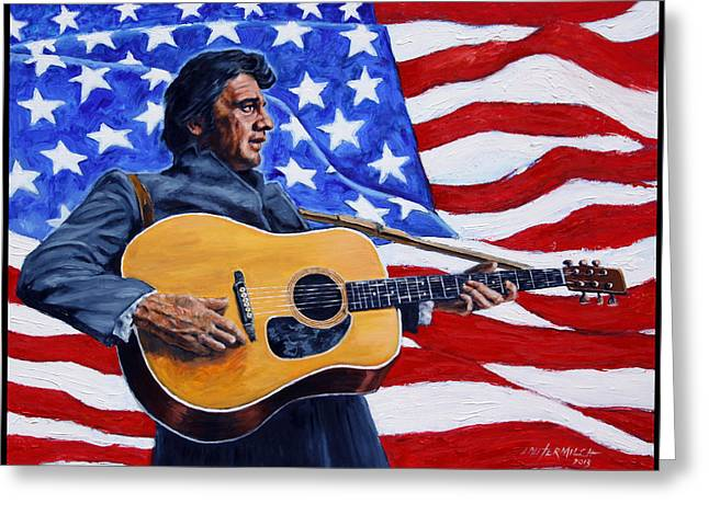 Johnny Cash Greeting Card by John Lautermilch