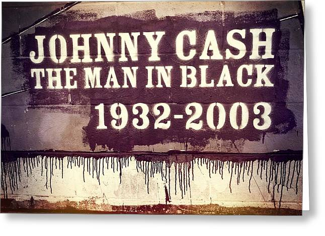 Singer Songwriter Photographs Greeting Cards - Johnny Cash Memorial Greeting Card by Dan Sproul