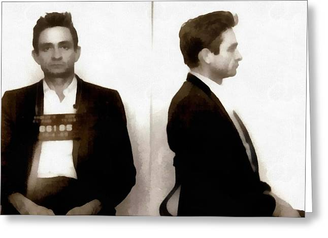 Johnny Cash Mugshot Greeting Card by Dan Sproul