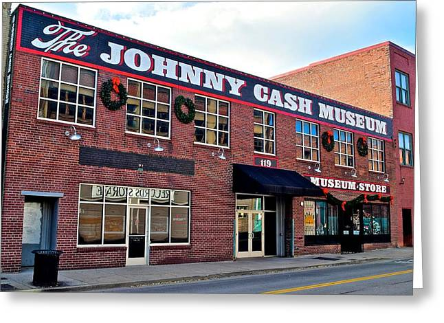 Skyline Of Nashville Greeting Cards - Johnny Cash Museum Nashville Greeting Card by Frozen in Time Fine Art Photography