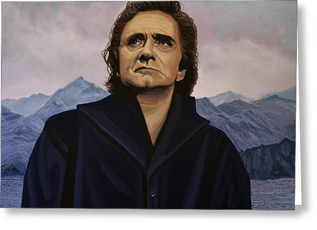 Rhythm Greeting Cards - Johnny Cash Greeting Card by Paul  Meijering