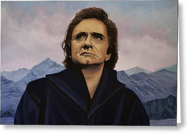 Rock And Roll Paintings Greeting Cards - Johnny Cash Greeting Card by Paul Meijering