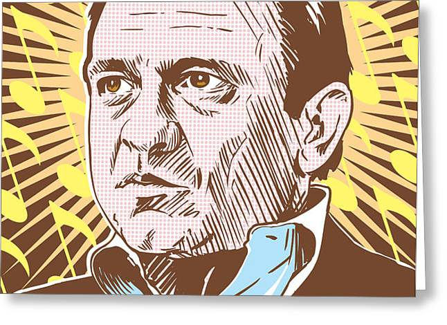 Johnny Cash Pop Art Greeting Card by Jim Zahniser