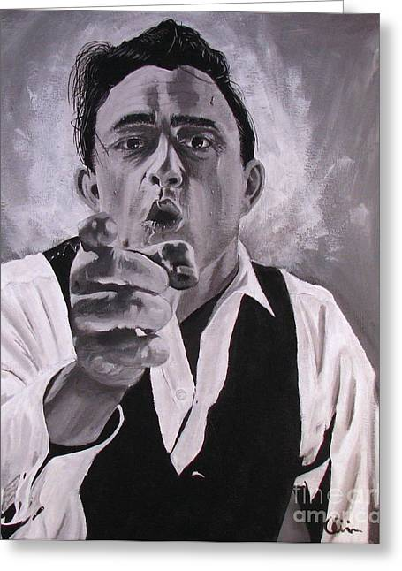 Walk The Line Greeting Cards - Johnny Cash Portrait Greeting Card by M Oli
