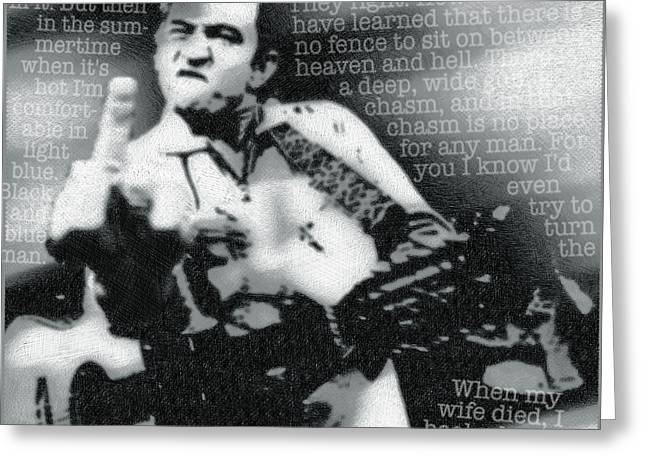 Johnny Cash Rebel Greeting Card by Tony Rubino