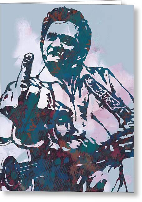 Most Greeting Cards - Johnny Cash - Stylised Etching Pop Art Poster Greeting Card by Kim Wang
