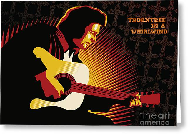 Thorns Greeting Cards - Johnny Cash Thorntree in a Whirlwind Greeting Card by Sassan Filsoof