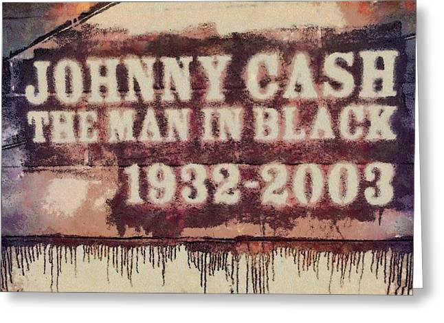 Black Man Mixed Media Greeting Cards - Johnny Cash Tribute Greeting Card by Dan Sproul