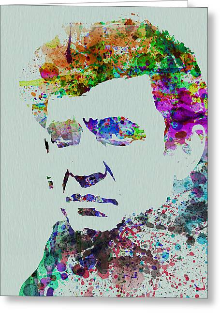 Johnny Greeting Cards - Johnny Cash Watercolor 2 Greeting Card by Naxart Studio